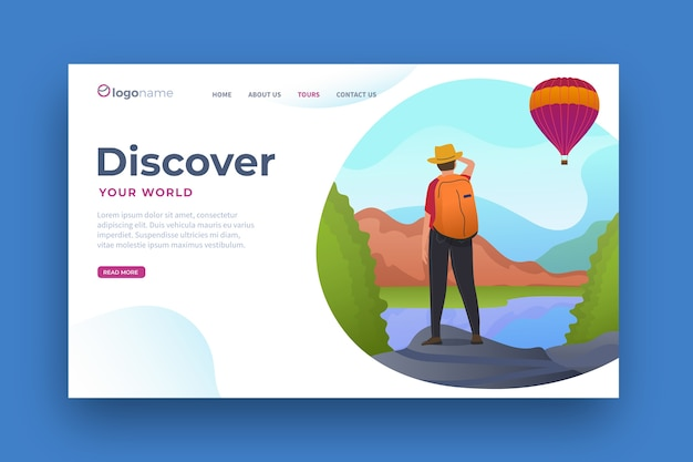 Flat design travel landing page template Free Vector