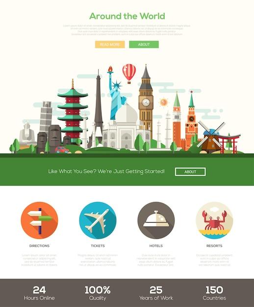 Flat design travel website header banner Premium Vector