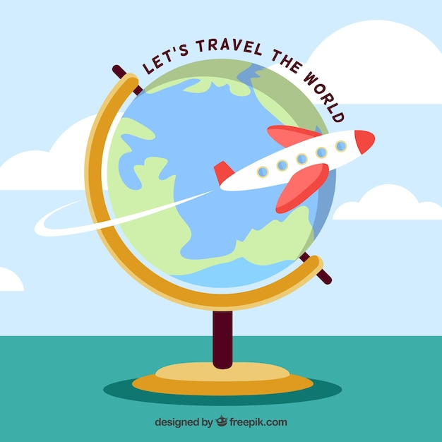 Flat Design Travelling The World Globe Background Vector Free Download