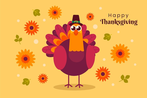 Flat design turkey thanksgiving background Free Vector