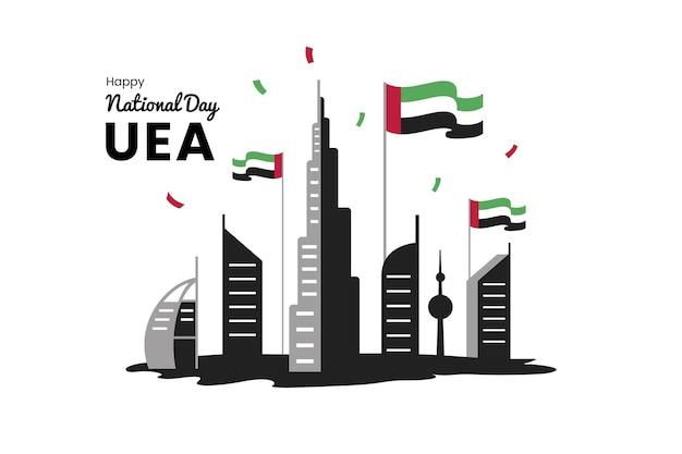 Плоский дизайн празднования национального дня оаэ Premium векторы