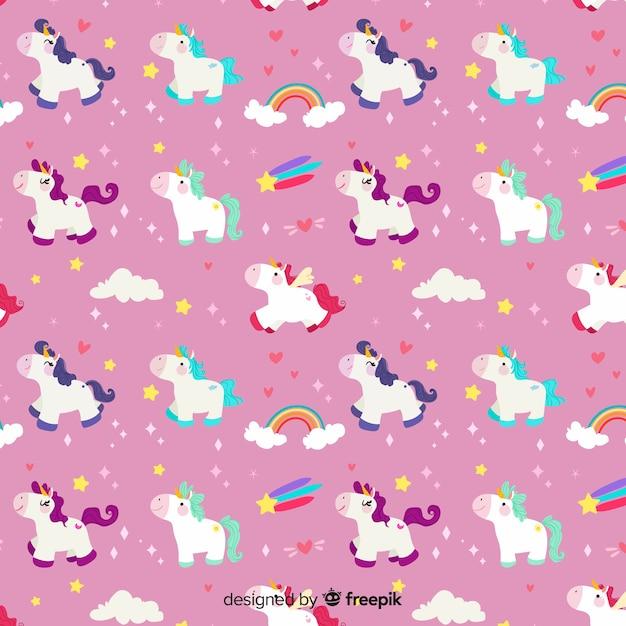 Free Vector | Flat design unicorn pattern background