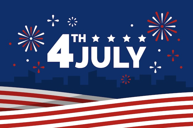 Flat design usa independence day concept Free Vector