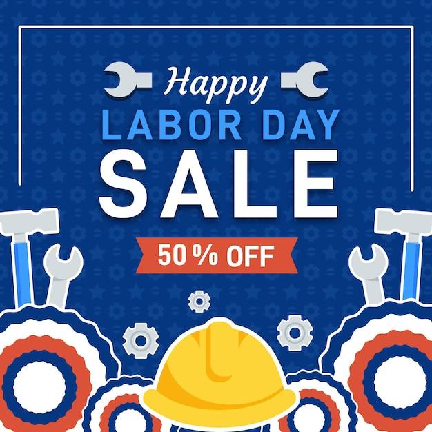 Flat design usa labor day sale Free Vector