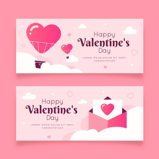 Flat design valentine's day banners set Free Vector