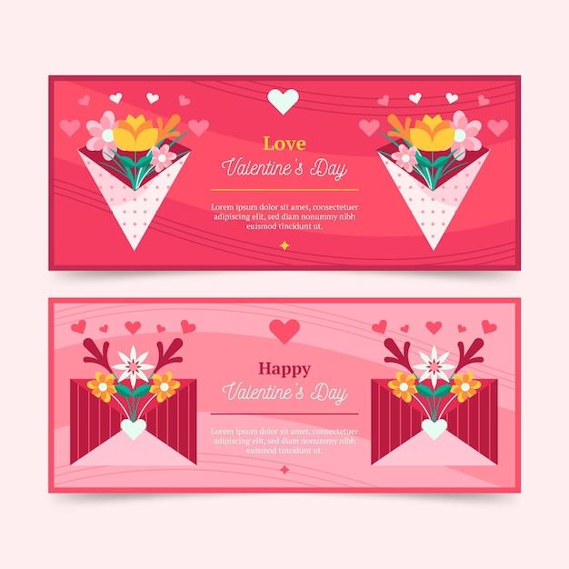 Banner di san valentino design piatto Vettore gratuito