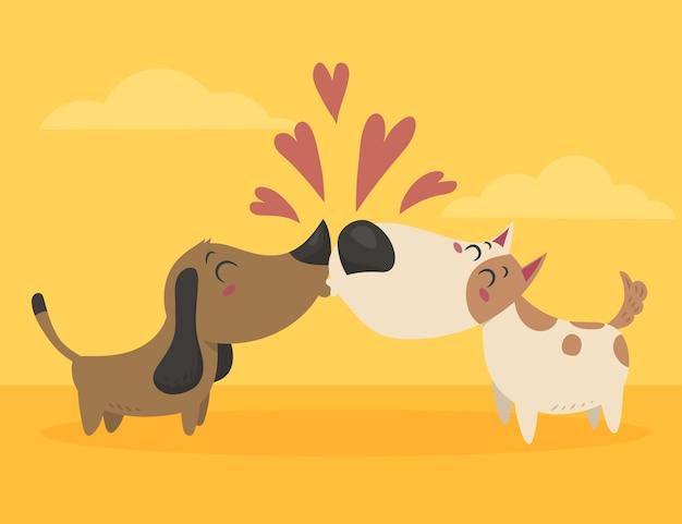 フラットなデザインのバレンタインデーの犬のカップル 無料ベクター