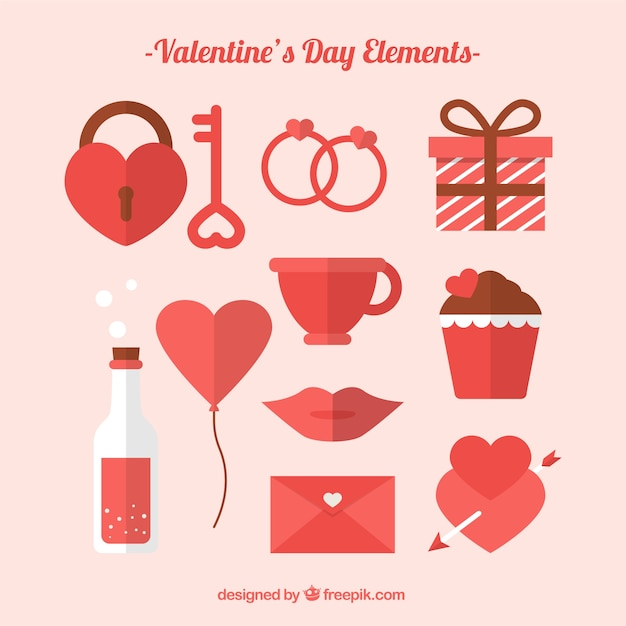 Flat Design Valentine S Day Element Collection Vector Free Download