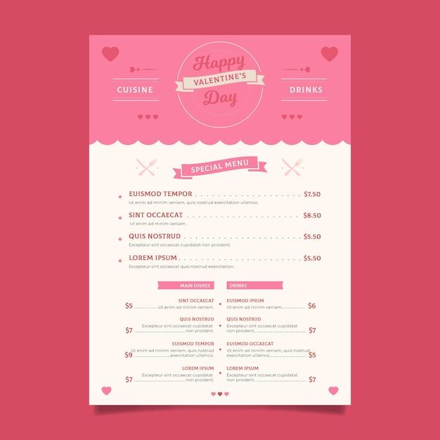 Плоский дизайн шаблона меню дня святого валентина Бесплатные векторы