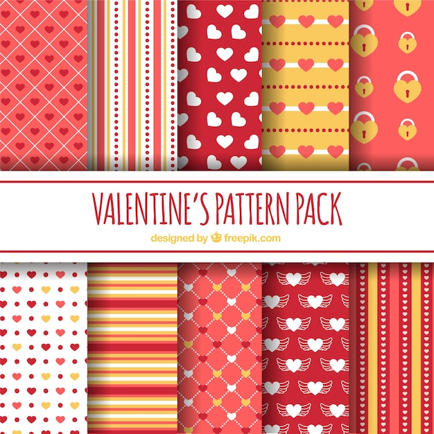 Flat design valentine's day pattern collection Free Vector
