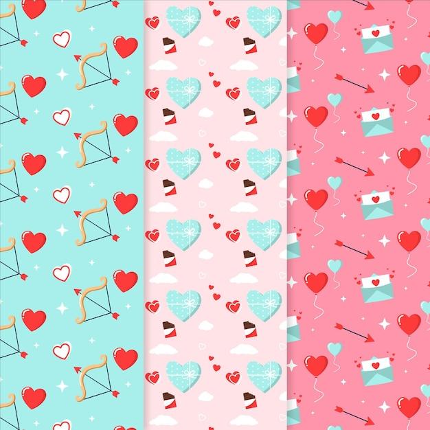 평면 디자인 발렌타인 패턴 팩 무료 벡터