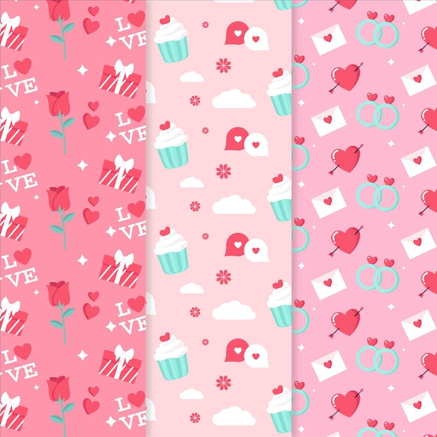 평면 디자인 발렌타인 패턴 세트 무료 벡터