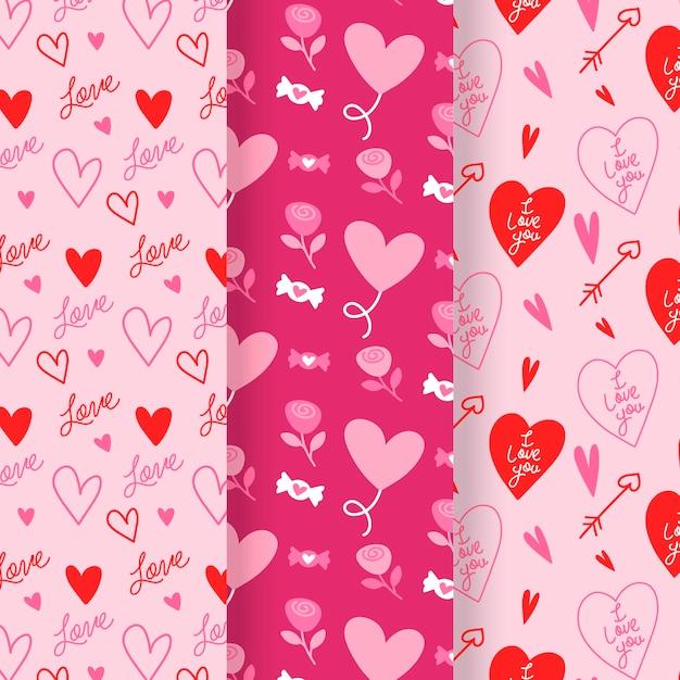 평면 디자인 발렌타인 패턴 컬렉션 무료 벡터