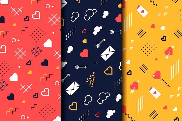 フラットデザインのバレンタインデーパターンパック 無料ベクター