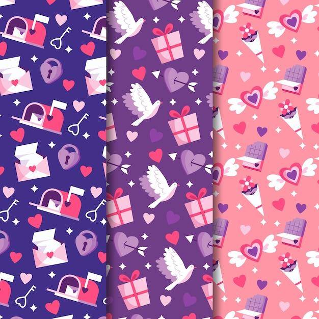 평면 디자인 발렌타인 패턴 무료 벡터