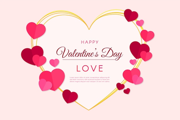 Flat Design Valentine S Day Wallpaper Free Vector