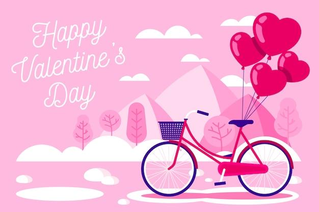 Flat design valentine's day wallpaper Free Vector