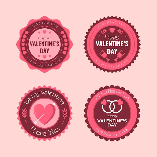 Collezione di badge san valentino design piatto Vettore gratuito