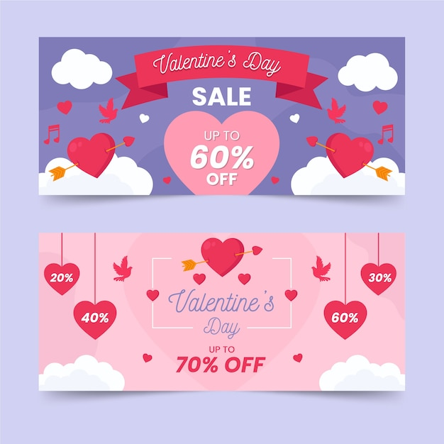 Flat design for valentines day banner concept Free Vector
