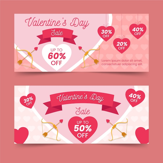 Flat design for valentines day banner Free Vector