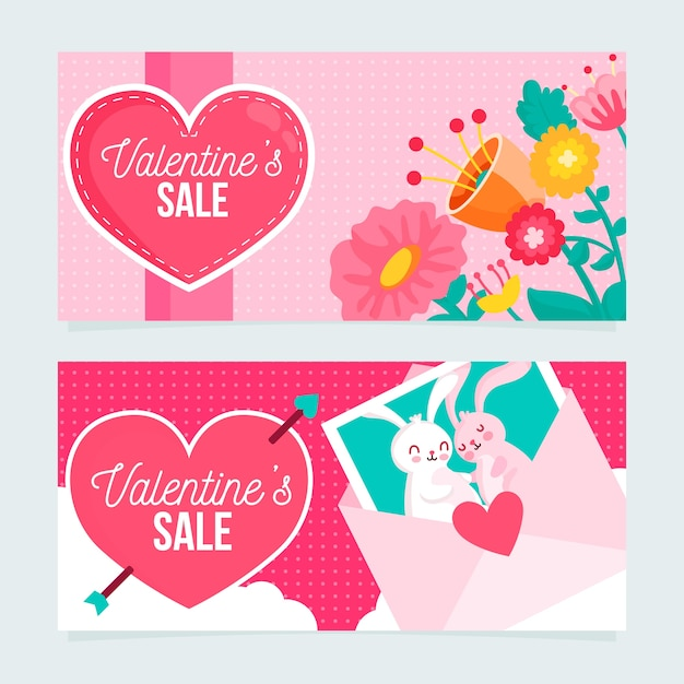 Flat design valentines day banners concept Free Vector