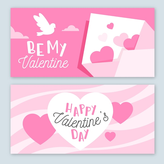 Flat design valentines day banners template Free Vector