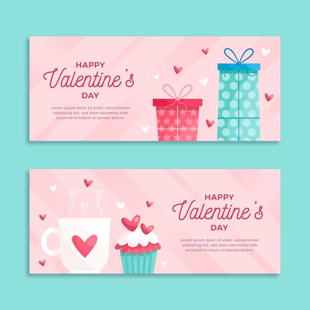 Modello di banner design piatto san valentino Vettore gratuito