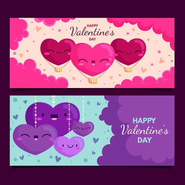 Flat design valentines day banners Free Vector