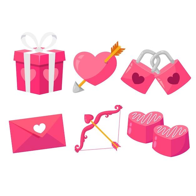 フラットなデザインのバレンタインの日の要素のコレクション 無料ベクター