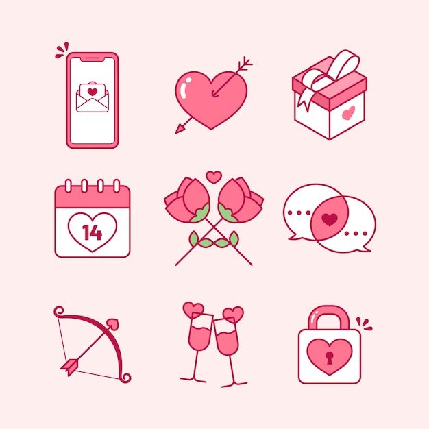 Flat design valentines day element collection Free Vector