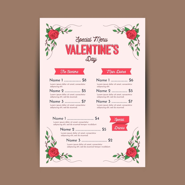 Flat design valentines day menu template Free Vector