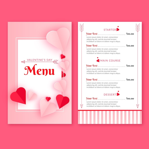 Flat design for valentines day menu Free Vector