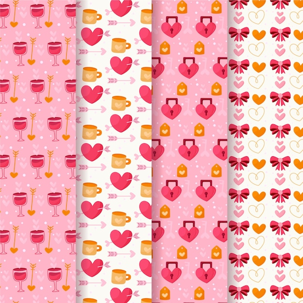 Flat design valentines day pattern collection Free Vector