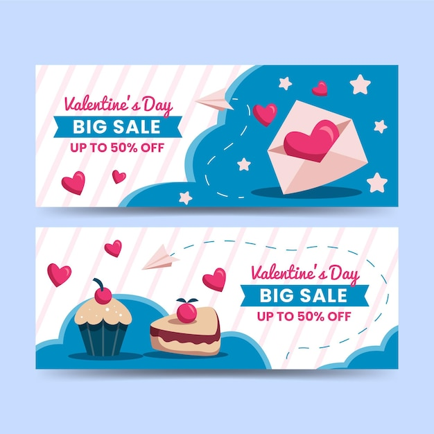 Flat design valentines day sale banners template Free Vector