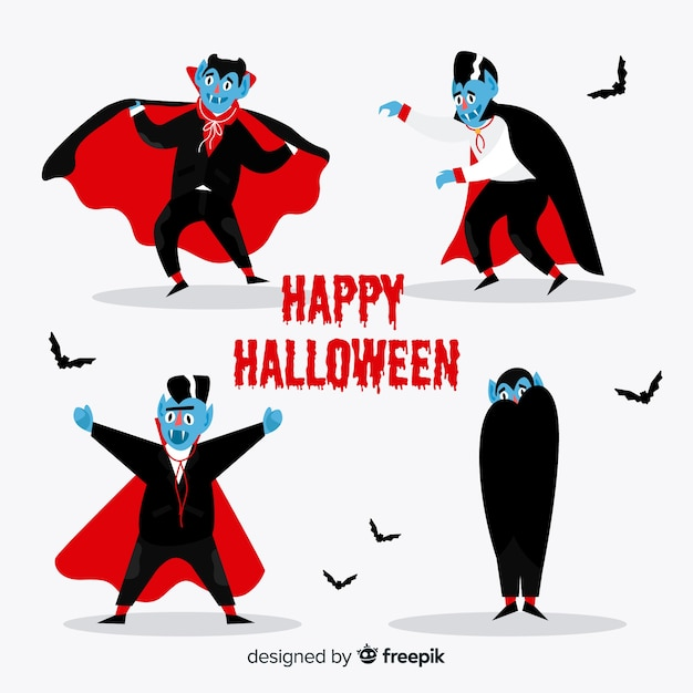 Flat design vampire character collection Free Vector
