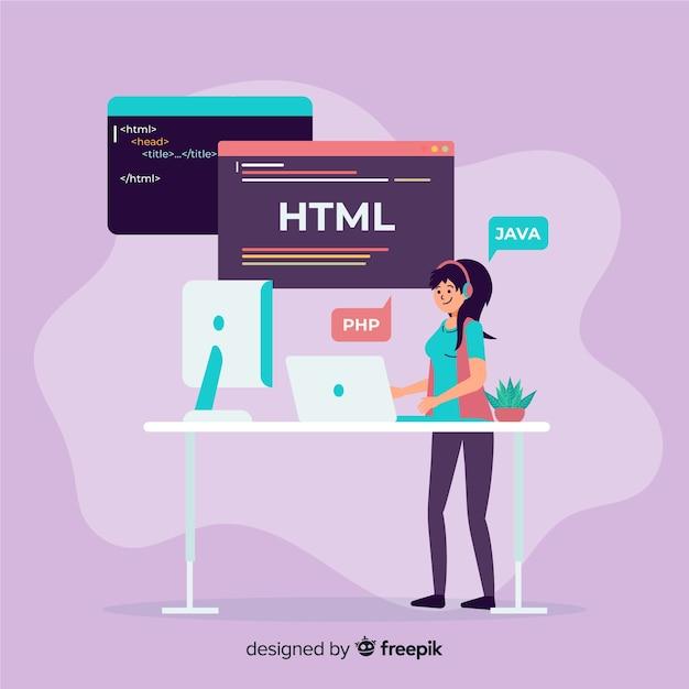 Flat design vector female programmer working Free Vector