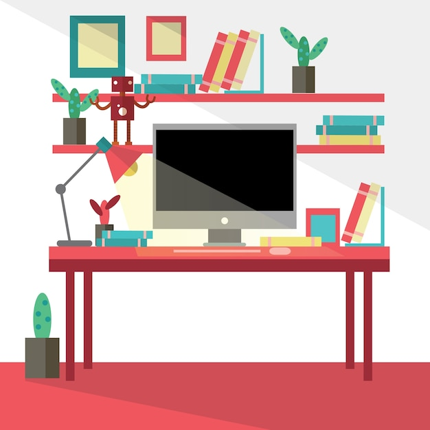 Flat design vector illustration of modern creative office workspace,workplace with computer. Premium Vector