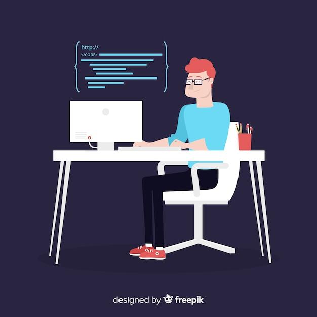 Плоский дизайн вектор мужской программист кодирования Бесплатные векторы