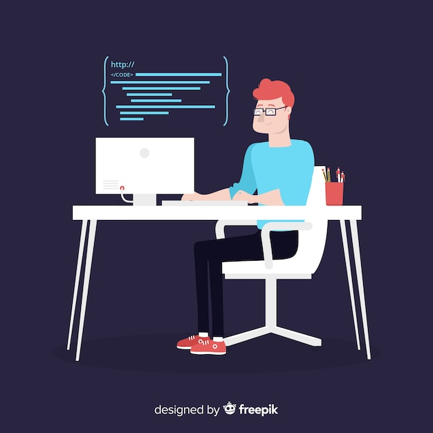 Flat design vector male programmer coding Free Vector