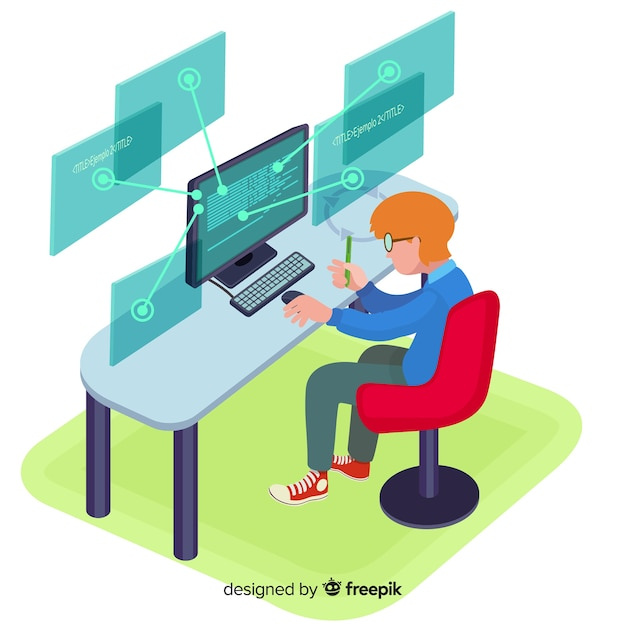 Flat design vector man programmer working Free Vector