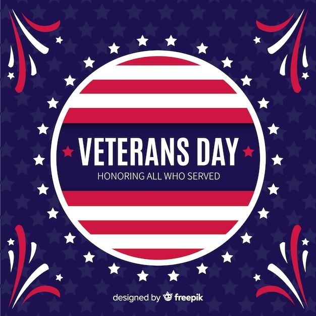 Flat design veterans day background Free Vector