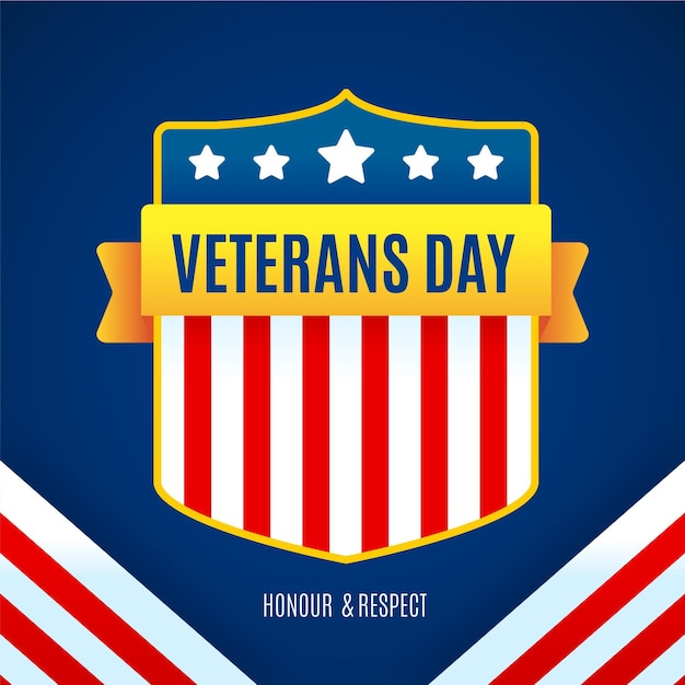 フラットなデザインの退役軍人の日休日 無料ベクター