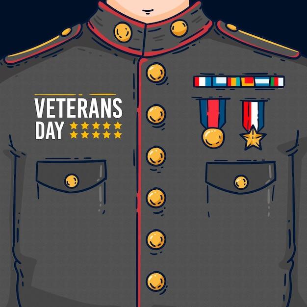 フラットなデザインの退役軍人の日イラスト 無料ベクター
