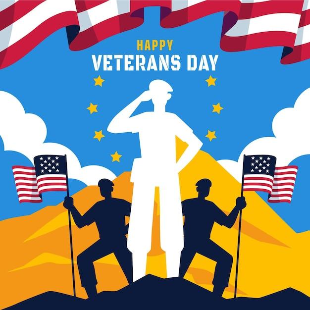 Giornata dei veterani di design piatto con bandiere americane Vettore gratuito