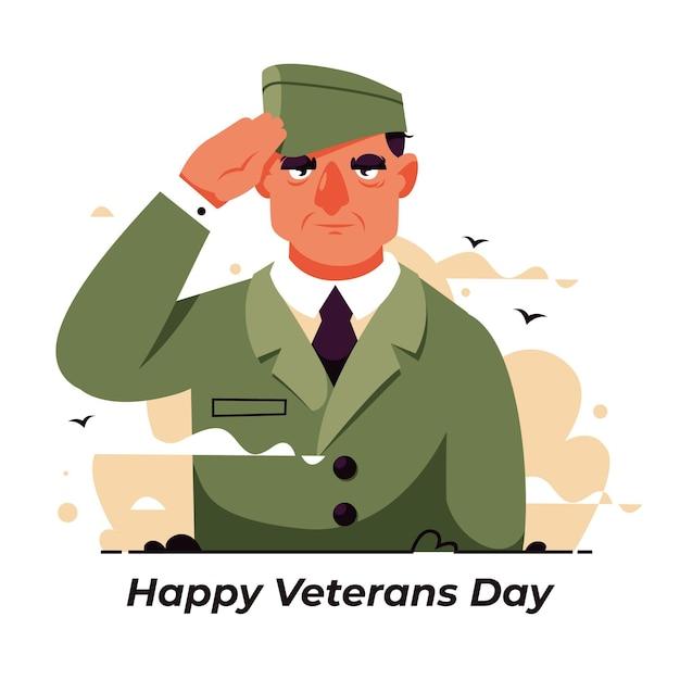 兵士とフラットデザインの退役軍人の日 Premiumベクター