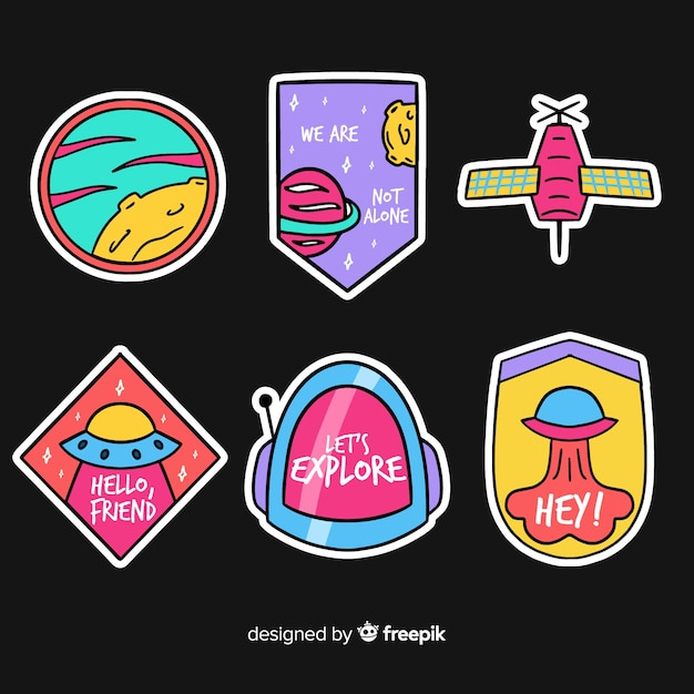 Flat design vibrant space sticker collection Free Vector