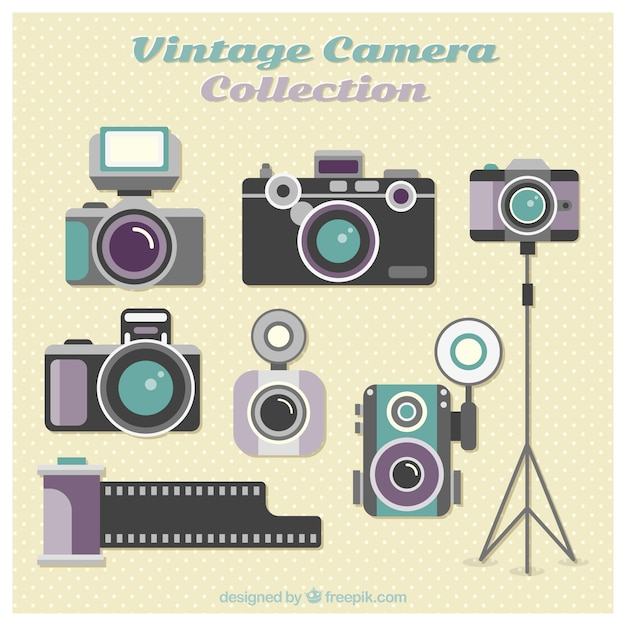 Flat design vintage camera collection