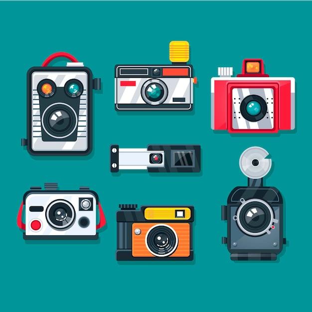 Flat design vintage cameras collection