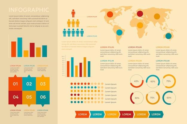 Flat design vintage infographic Free Vector