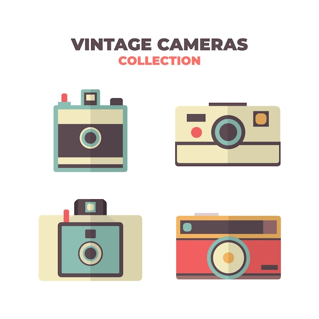 Flat design vintage photo camera collection